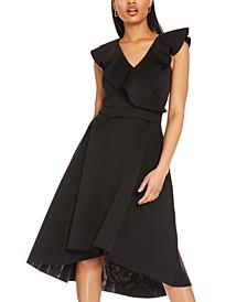 Ruffle V-Neck Midi Dress