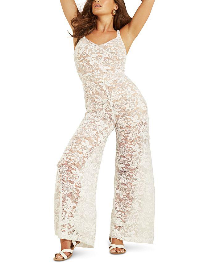 GUESS - Sleeveless Wide-Leg Lace Jumpsuit