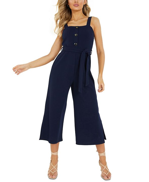 Quiz Wide-Leg Cropped Jumpsuit