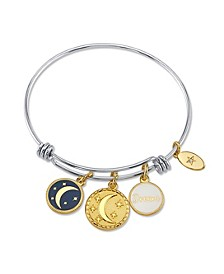"""Dream"" Adjustable Bangle Bracelet in Stainless Steel with Silver Plated Charms"