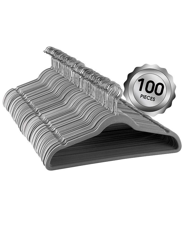 Elama - Megagoods 100-Pc. Velvet Hanger Set