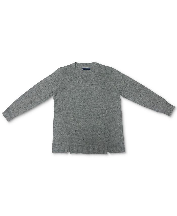 Karen Scott - Crewneck Notch-Hem Sweater
