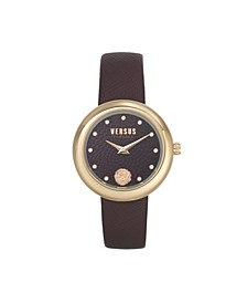Women's Lea Burgundy Leather Strap Watch 35mm
