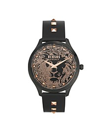 Women's Domus Black Leather Strap Watch 40mm