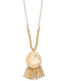 "Gold-Tone Hammered Disc & Tubular Fringe Long Pendant Necklace, 35-1/2"" + 3"" extender, Created for Macy's"
