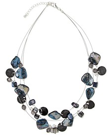 "Silver-Tone Disc, Bead & Stone Triple-Row Statement Necklace, 18"" + 3"" extender, Created for Macy's"