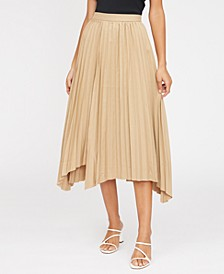 Avery Pleated Asymmetrical-Hem Skirt