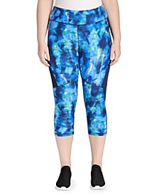 Plus Size Abstract-Print High-Waisted Crop Tights
