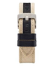 Men's Beige Genuine Leather and Cordura Strap, 22mm