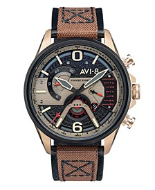 Men's Hawker Harrier II Brown Genuine Leather and Nylon Strap Watch, 45mm