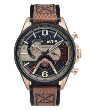 Men's Hawker Harrier Ii Brown Genuine Leather and Nylon Strap Watch