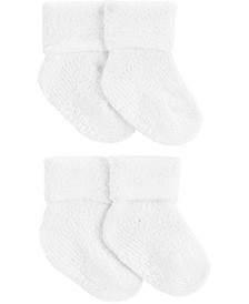 Baby Boys and Girls 4-Pack Chenille Booties