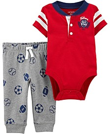 Baby Boy  2-Piece Varsity Bodysuit Pant Set