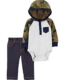 Baby Boy  2-Piece Hooded Bodysuit Pant Set