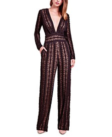 Deep-V Lace Jumpsuit