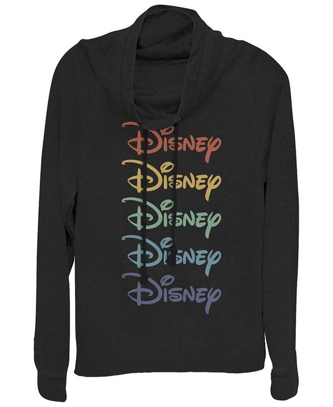 Fifth Sun Women's Disney Logo Disney Rainbow Fleece Cowl Neck Sweatshirt