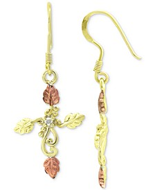 Cubic Zirconia Leaf Filigree Cross Drop Earrings in Sterling Silver, 18k Gold- & 18k Rose Gold-Plate, Created for Macy's