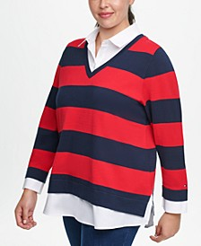 Plus Size Layered-Look Collared Rugby-Striped Sweater