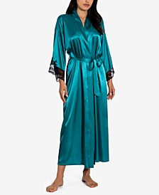 Lace Trim Wrap Robe