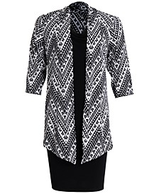 Plus Size Printed Jacket & Dress