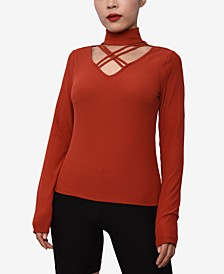 Juniors' Cutout Mock-Neck Top