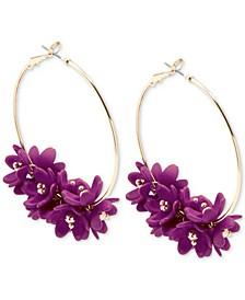 Gold-Tone Resin Flower Cluster Hoop Earrings