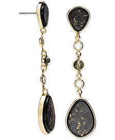 Gold-Tone Crystal & Gold-Fleck Black Stone Linear Drop Earrings