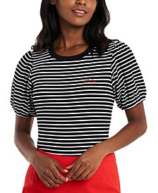 Rae Striped Puff-Sleeve Top, Created for Macy's