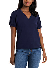 Riley & Rae Rae Puff-Sleeve V-Neck Top, Created for Macy's