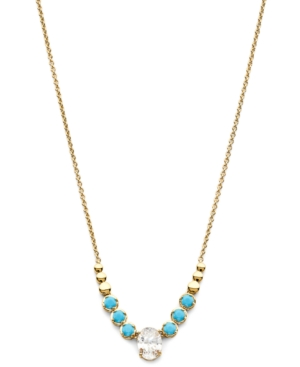 18k Gold-Plated Cubic Zirconia & Stone Statement Necklace