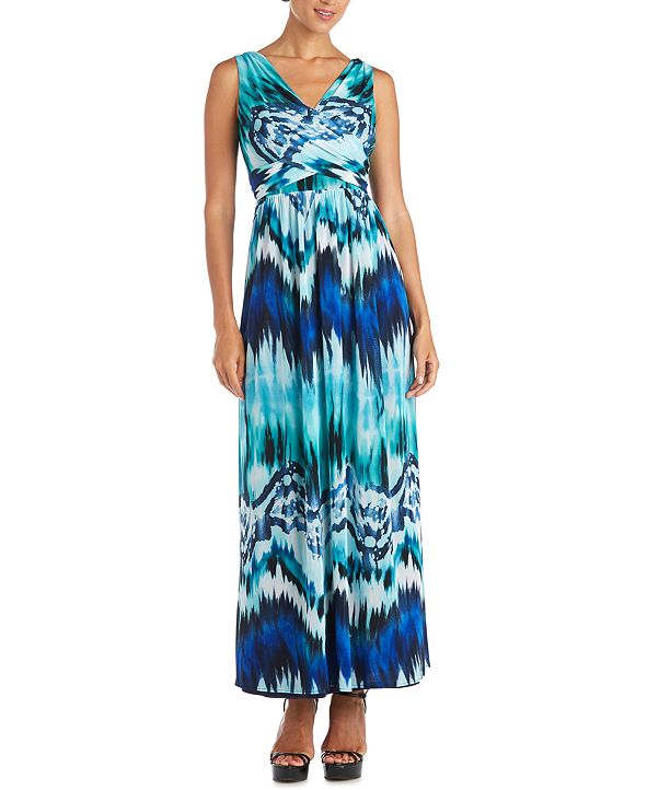 R & M Richards Wrap V-Neck Maxi Dress