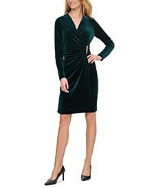 Velvet Ruched Side-Bar Dress