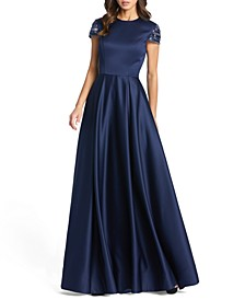 Embellished-Sleeve Satin Gown