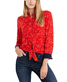 Leighton Printed Tie-Front Top, Created for Macy's