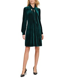 Velvet Tie-Front Shift Dress