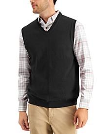 Men's Solid V-Neck Sweater Vest, Created for Macy's