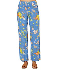 Juniors' Johnny Rio Smocked Floral-Print Pants