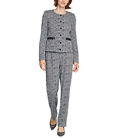 Tweed Button Jacket & Belted Tweed Skinny Pants