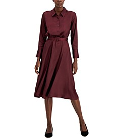 Fit & Flare Belted Midi Dress, Created for Macy's