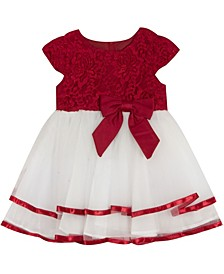 Baby Girls Lace Cap Sleeve Dress With Double Ribbon Hem
