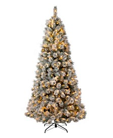 Pre-Lit Snow Flocked Artificial Spruce Christmas Tree with 650 Warm Lights
