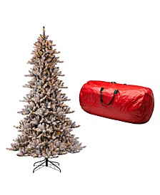 Pre-Lit Snow Flocked Fir Artificial Christmas Tree with 650 Warm Lights, with Storage Bag