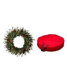 Pre-Lit Greenery Pine Cone Christmas Wreath with Storage Bag