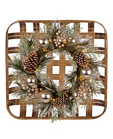 Tobacco Basket with Christmas Wreath Wall Decor
