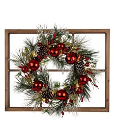 Wooden Window Frame Wall Decor with Christmas Wreath
