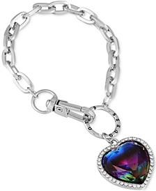 Stone & Crystal Heart Chain Link Bracelet