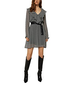 Teresa Ruffled Houndstooth-Print Dress