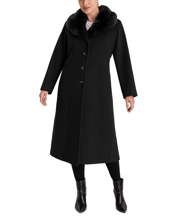 Anne Klein Plus Size Faux-Fur Collar Maxi Coat