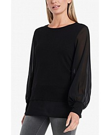 Women's Long Sleeve Knit Top with Chiffon Sleeves