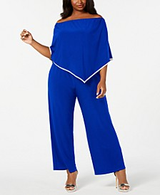 Plus Size Off-The-Shoulder Poncho Jumpsuit